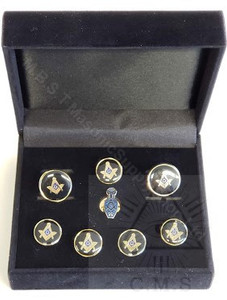 Masonic  Square Cuff Link and 5 Shirt Studs plus Lapel pin ( Slipper)