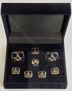 Masonic  Square & Compass  Cuff Link and 5 Shirt Studs Set plus Lapel Pin (Past Masters Symbol)
