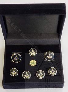 Masonic  Round Cuff Link and 5 Shirt Studs Set