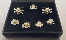 Skull & Crossed Bones  Cuff Links and  5 Shirt Stud set  Gold