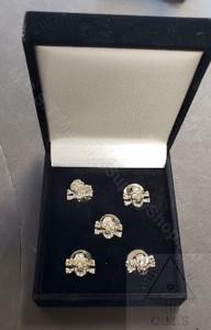 Skull & Crossed Bones shirt studs set of five   Gold