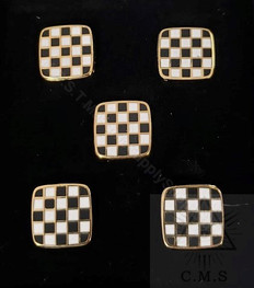 Masonic Shirt Studs  Black & White Pavement    set of five