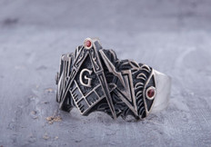 Silver Masonic Band   Ring  with Square & Compass Design
