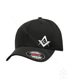 Masonic Baseball Hat  Flex Fit   White  Color Square and Compass Design   Assorted Colors