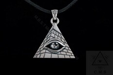 Silver Pendant  Pyramid with All Seeing Eye Design