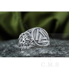 Valknut Ring with Mammen Ornament  Norse   Silver  Ring
