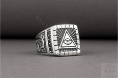 Silver Masonic Ring   Eye of Providence   Design  Square  Face