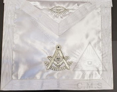 Past Masters  Apron  White   satin  size 13 x 15  inch