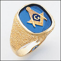 Masonic Gold Ring with Blue Stone     Style 21