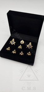 Square & Compass Masonic  Cuff Links and Stud set Plus Lapel Pin (Sq & C )