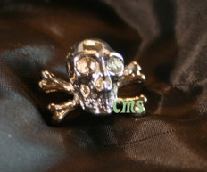 Skull and Cross Bones Lapel Pin  Gold 1/4