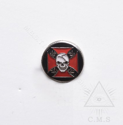 Lapel pin Red Maltese Cross with Skull