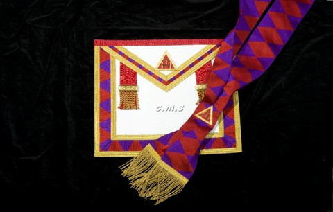 ROYAL ARCH PAST FIRST PRINCIPALS (HP)  APRON AND SASH  SET  (No Fringe)