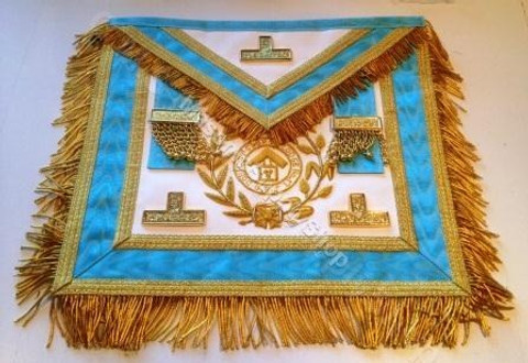 Gold Trim PM Apron  with  Fringe, Wreathing & Lodge Badge