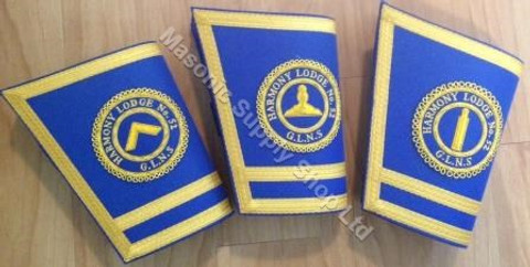 Lodge Officer Gauntlets/Cuffs with Emblem  Royal Blue
