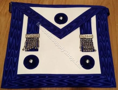 Master Masons Apron Royal Blue with Silver Ornaments