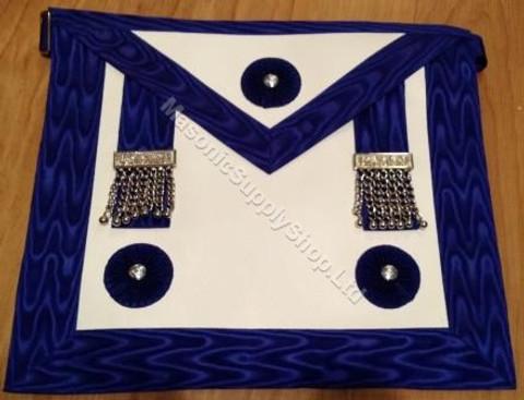 Master Masons Apron Royal Blue with Silver Ornaments