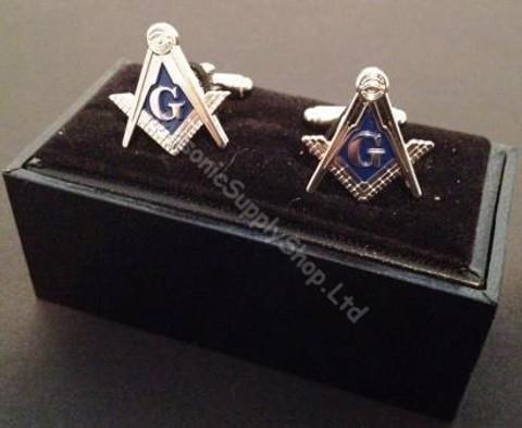 Square & Compass Cufflinks   Silver finish