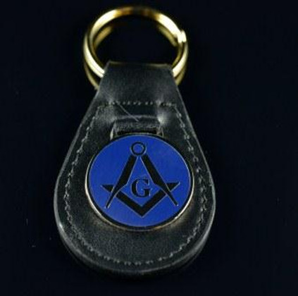 Blue on Leather Masonic Key Ring