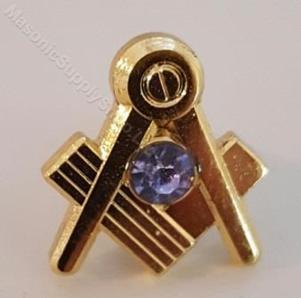 Lapel pin Square and Compass with Blue Cystal Stone 15mm 1/2 in