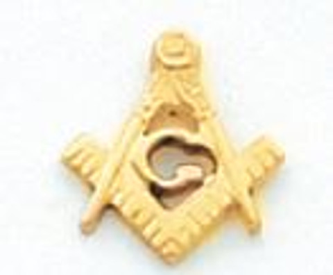 Gold Square and Compass Lapel Pin HOM5704T