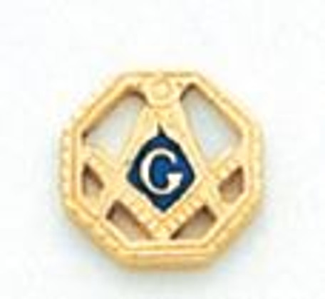 GOLD SQUARE AND COMPASS  ROUND LAPEL PIN HOM5116T