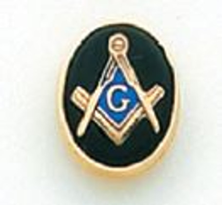 Oval Gold Square & Compass Lapel Pin MST910T