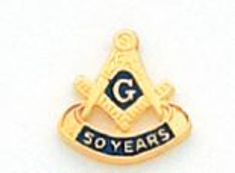 50 Year Gold Square & Compass Lapel Pin HOM7152-50T