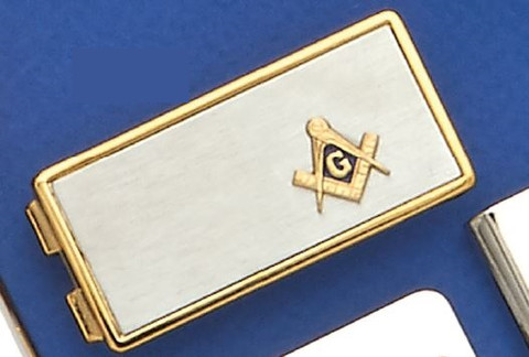 GOLD PLATED SQUARE AND COMPASS MONEY CLIP MASCJ1509