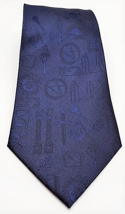 Masonic Tie Dark Blue with Masonic Symbols