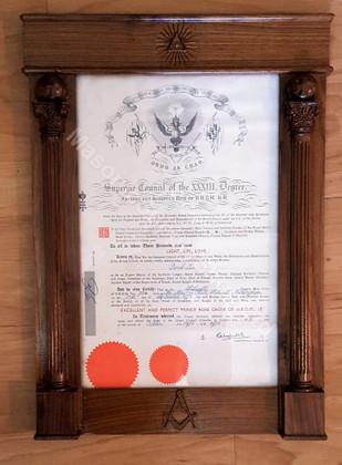 Masonic Picture Frame   Masonic  Certificate Frame