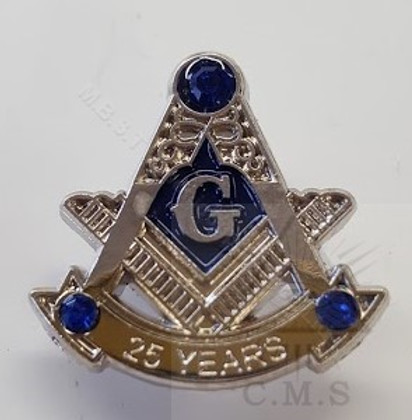 Masonic Anniversary  25  Year Lapel Pin-D