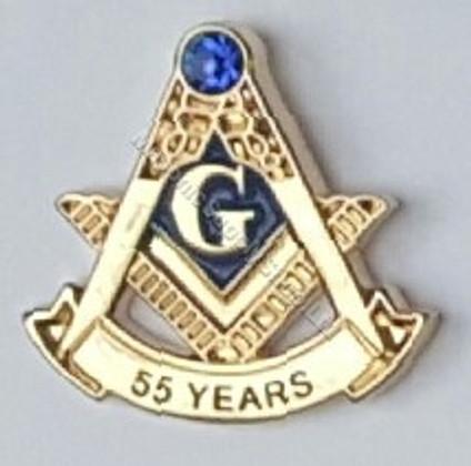 Masonic 55 Year Membership Lapel Pin