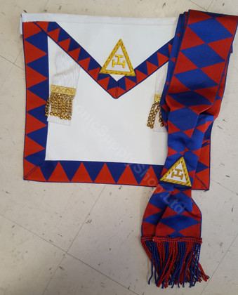 Royal Arch Companion Apron and  Sash Set   Royal Blue Diamonds