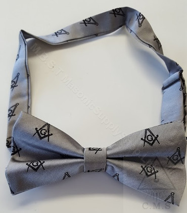 Gray Bow Tie with Black Square and Compass Design