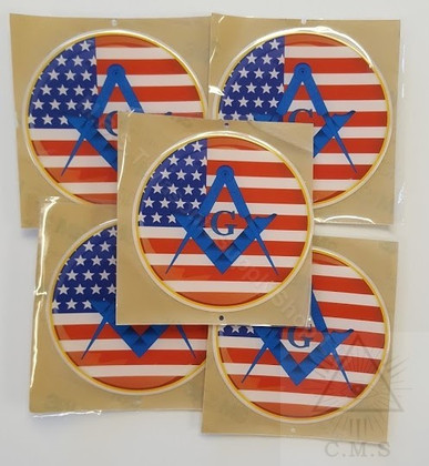 Car Decal  Stars and Stripes with Blue Square & Compass with G     5 pack