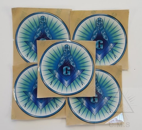 Decal    Blue Square and Compass with Rays    5 pack