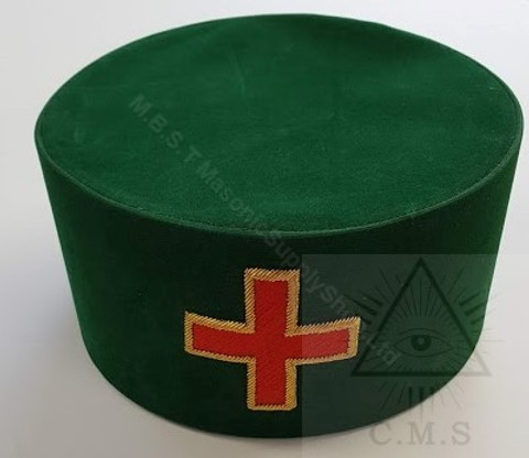 Knight Templar Hat  Green with  Red Cross