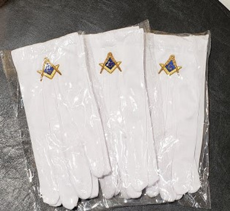Masonic Dress Gloves with Gold  Square & Compass on Blue   3  Pack Special