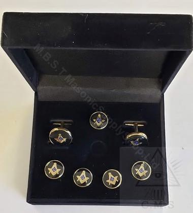 Round Masonic Cuff Links and  5 Shirt Button Covers set