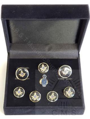 Masonic  Square Cuff Link and 5 Shirt Studs plus Lapel pin ( Slipper)