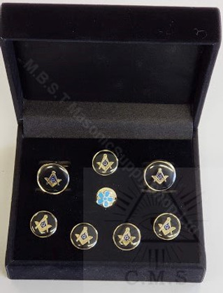 Masonic  Round Cuff Link and 5 Shirt Studs Set