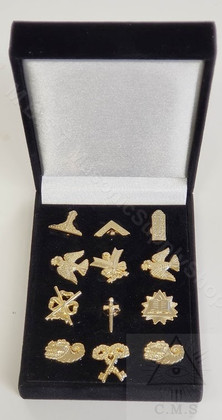 Box Set of Masonic lodge Officers lapel pins