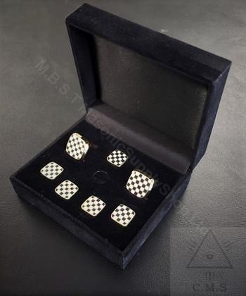 Masonic Pavement  Cuff Link & 5 Shirt Stud set