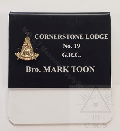 Deluxe  Past Masters Name Badge with  Raised Metal Emblem    style 1