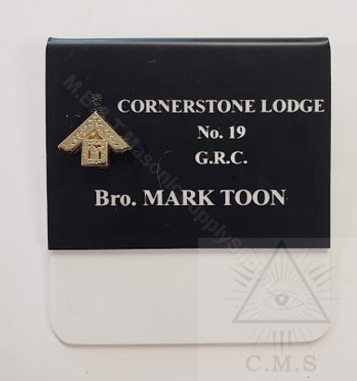 Deluxe  Past Masters Name Badge with  Raised Metal Emblem    style 3