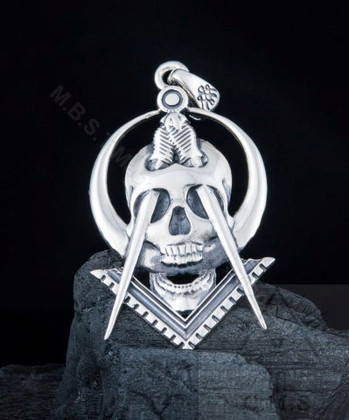 Silver Pendant  with Square & Compass and Skull Design