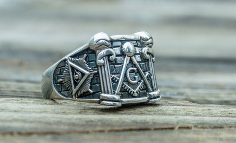 Silver Masonic Pillar Ring  with All Seeing Eyes