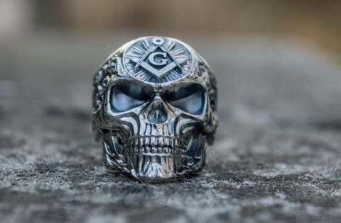 Silver Masonic Skull Ring