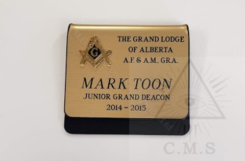 Deluxe  Grand Lodge  Name Badge with  Raised Metal Square & Compass  Emblem